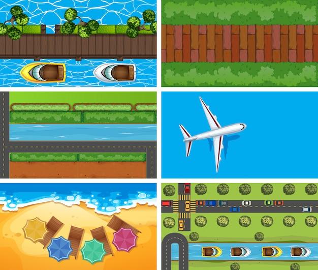 Set di scene aeree sfondo