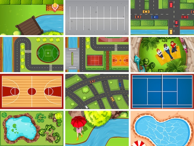 Set di scene aeree vista dall'alto in natura e all'aperto