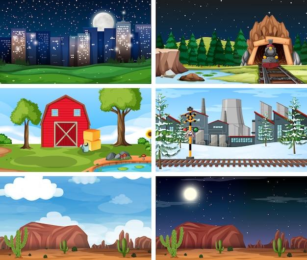 Set di scene all'aperto della natura o di sfondo