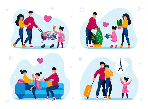 Set di scene di infanzia felice e genitorialità