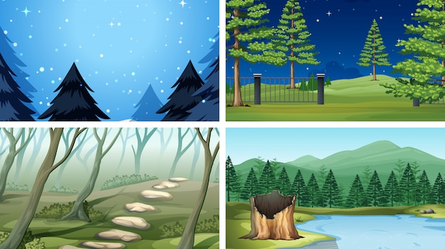 Set di scene di legno diverse