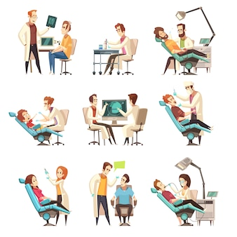 Set di scene di odontoiatria