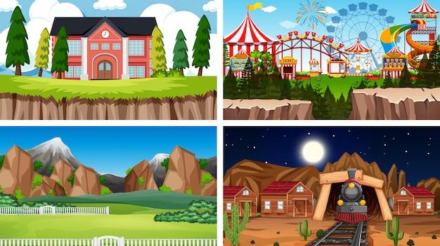 Set di scene di sfondo in natura