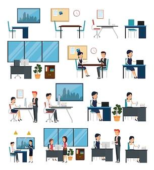 Set di scene di ufficio
