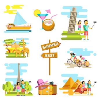 Set di scene di vacanze estive e viaggi avventura