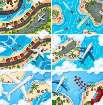 Set di scene di vedute aeree