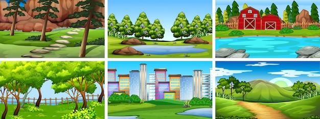 Set di scene in ambiente naturale o backrgound