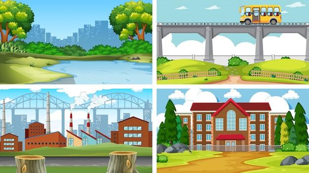 Set di scene in ambiente naturale