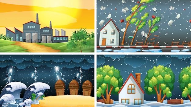 Set di scene inquinate o di sfondo