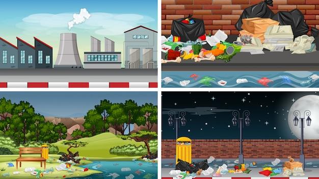 Set di scene o sfondi inquinati
