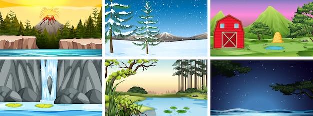 Set di scene o sfondo in ambiente naturale