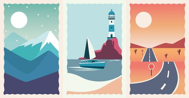 Set di scene piatte di paesaggi