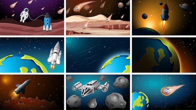Set di scene spaziali diverse