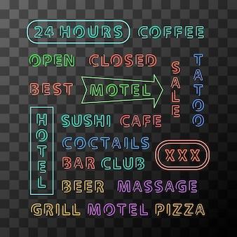 Set di schede di segno al neon differenti per città di notte su sfondo trasparente