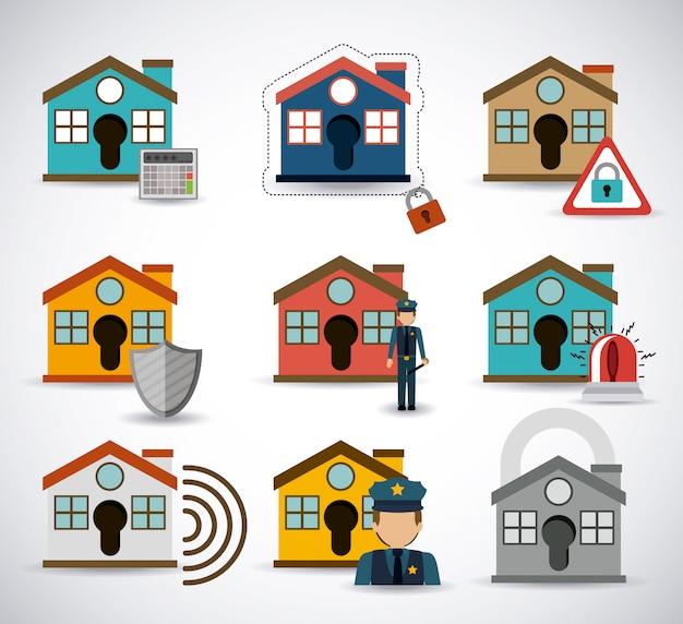 Set di schemi di sicurezza domestica