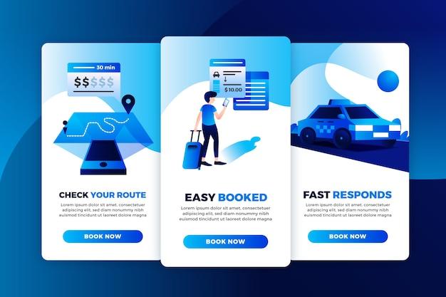 Set di schermate dell'app di onboarding del servizio taxi