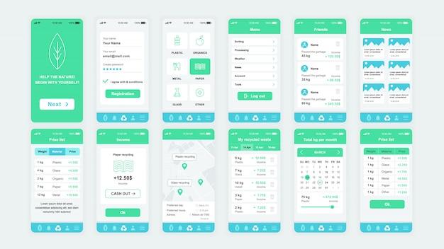 Set di schermate dell'interfaccia utente, ux, gui modello piatto dell'app di ecologia
