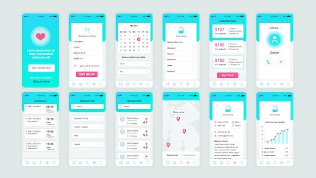 Set di schermate dell'interfaccia utente, ux, gui modello piatto dell'app di medicina