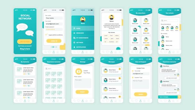 Set di schermate dell'interfaccia utente, ux, gui modello piatto dell'app social network