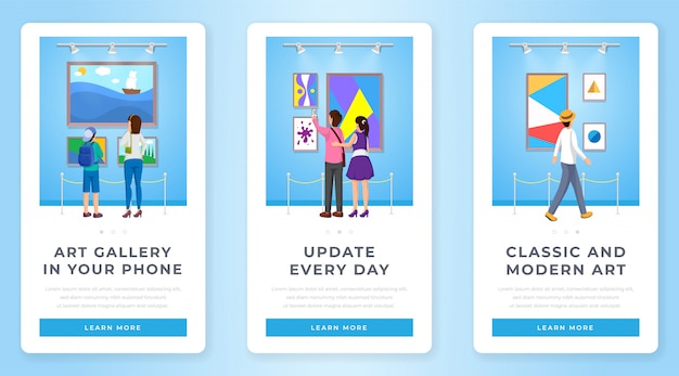 Set di schermate della pagina dell'app mobile della galleria d'arte