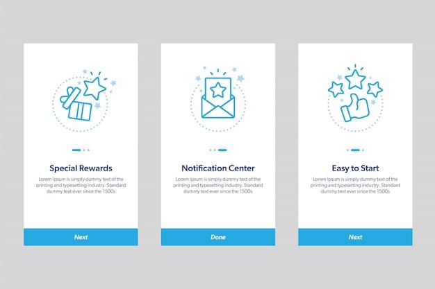 Set di schermate delle app integrate. concetto moderno e semplificato illustrazione schermate modello schermate per applicazioni mobili.