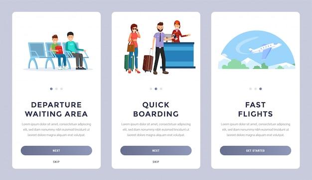 Set di schermate di navigazione mobile per le compagnie aeree