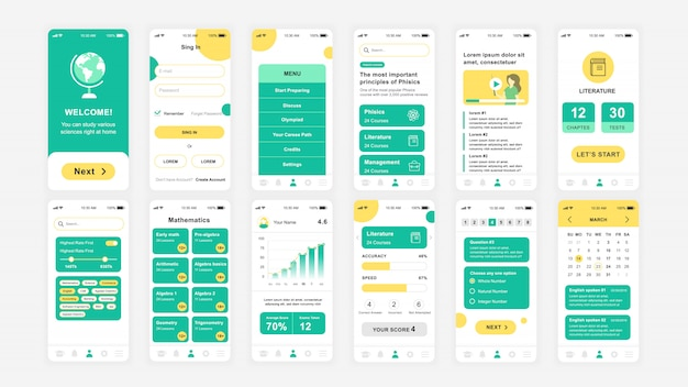 Set di schermate ui, ux, gui modello piatto dell'app education