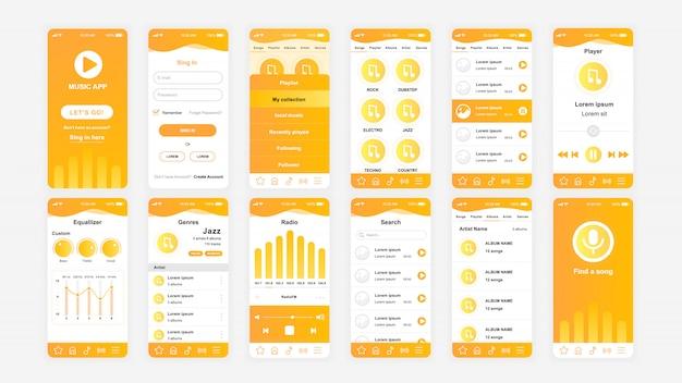 Set di schermate ui, ux, gui modello piatto per l'app di musica