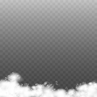 Set di schiuma da bagno con bolle di shampoo e sapone, schiuma di sapone isolato su sfondo trasparente, bolle di gel o shampoo sovrapposte texture di schiuma,,