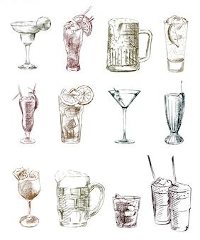 Set di schizzi di bevande