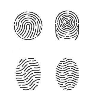 Set di schizzi di identificazione delle impronte digitali