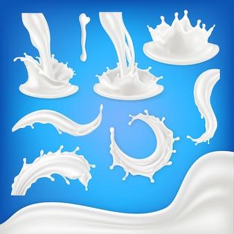 Set di schizzi di latte