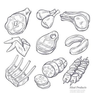 Set di schizzi di prodotti gastronomici a base di carne