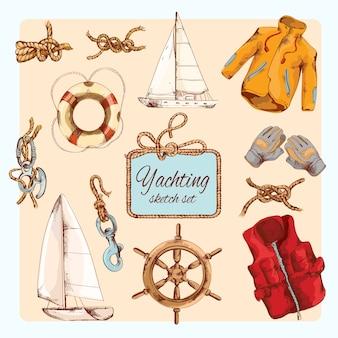 Set di schizzi di yachting