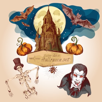 Set di schizzo colorato di halloween