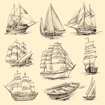 Set di schizzo di navi e barche