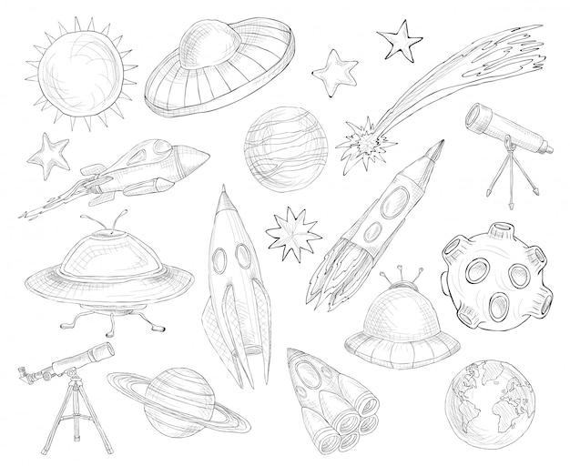 Set di schizzo di oggetti spaziali