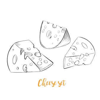 Set di schizzo disegnato a mano di formaggio