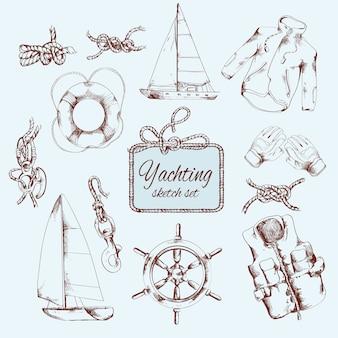Set di schizzo yachting