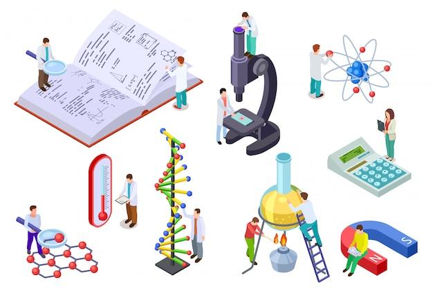 Set di scienza isometrica. scienziato e studente con enormi apparecchiature di laboratorio di chimica e fisica. insieme di vettore di istruzione 3d del laboratorio di scienza