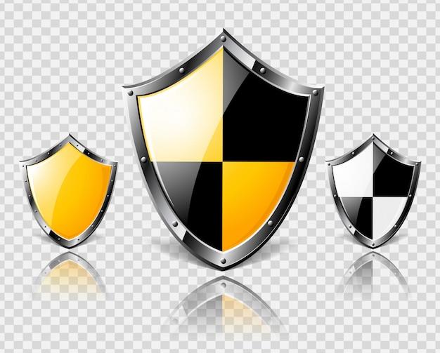 Set di scudi in acciaio su sfondo trasparente