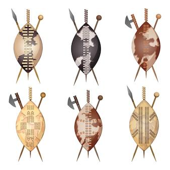 Set di scudo e set di mazze africane zulu assegai
