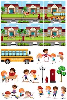 Set di scuola e studente