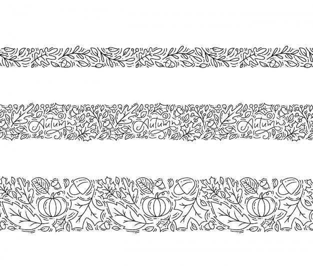 Set di seamless pattern ornamento monoline con ghiande e zucche