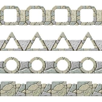 Set di seamless vecchio bordo grigio.