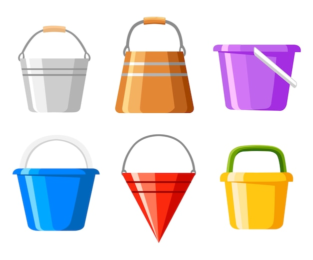 Set di secchi. una varietà di secchio. contenitori colorati per acqua o sabbia. . illustrazione su sfondo bianco. pagina del sito web e app per dispositivi mobili.