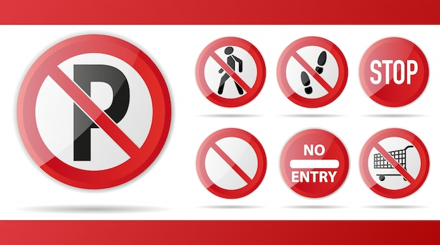 Set di segnale di divieto rosso