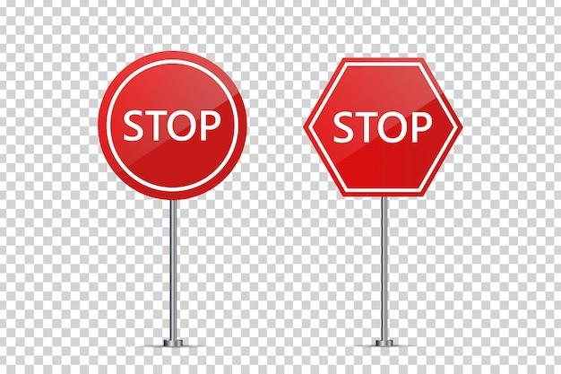 Set di segnali di stop stradali realistici per la decorazione e la copertura sullo sfondo trasparente. concetto di cautela stradale, traffico e logistica.