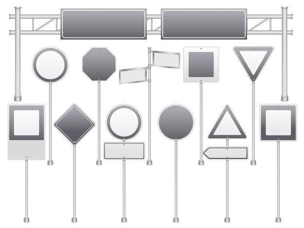 Set di segnali stradali in bianco realistico