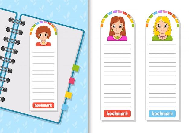 Set di segnalibri di carta con ragazze dei cartoni animati